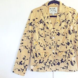 Fully Lined,Golden/Brown Floral Embroidery Blazer
